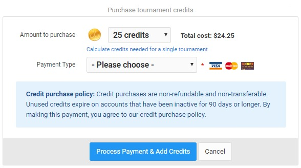 Add tournament credits