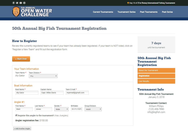 Online Registration Pages